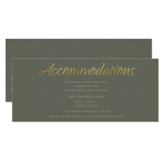 SIMPLE ELEGANT GOLD GREY TYPOGRAPHY Accommodations Card