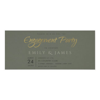 SIMPLE ELEGANT GOLD GREY TYPOGRAPHY Engagement Card