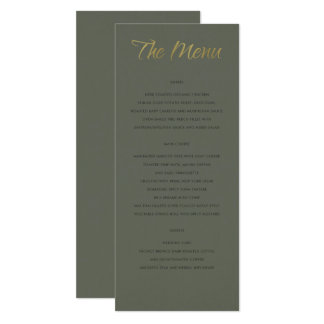 SIMPLE ELEGANT GOLD GREY TYPOGRAPHY menu card