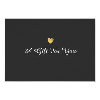 "Simple Elegant Gold Heart Gift Certificate 3.5"" X 5"" Invitation Card"