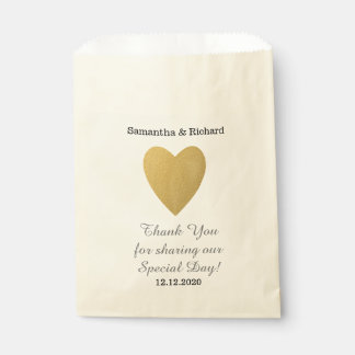 Simple Elegant Gold Heart Wedding Thank you Favour Bag