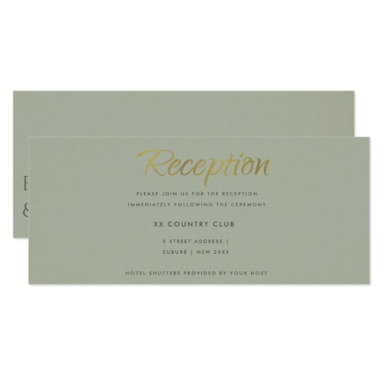 SIMPLE ELEGANT GOLD LITE GREY TYPOGRAPHY RECEPTION CARD