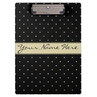 Simple Elegant Gold Polka Dots on Black Clipboard