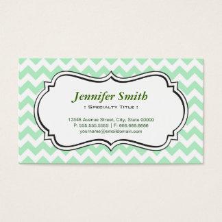 Simple Elegant Green Chevron Zigzag Business Card