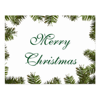 Simple Elegant Green Leaf Decor Merry Christmas Postcard