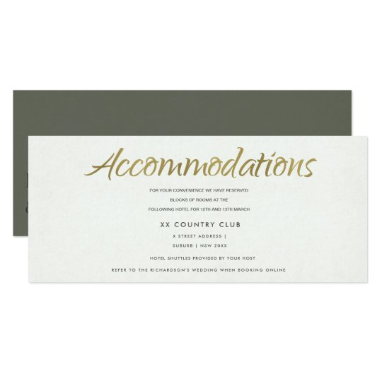 SIMPLE ELEGANT GREY TYPOGRAPHY Accommodations Card