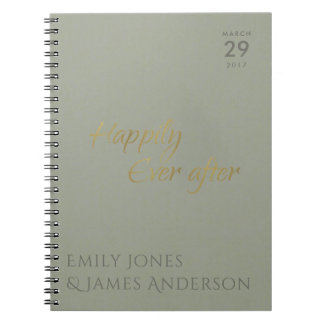 SIMPLE ELEGANT GREY TYPOGRAPHY HAPPILY EVER AFTER NOTEBOOK