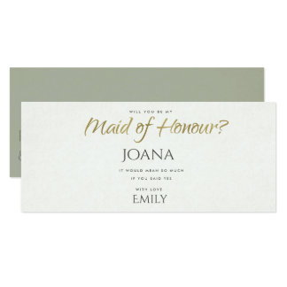 SIMPLE ELEGANT GREY TYPOGRAPHY maid of honour Card