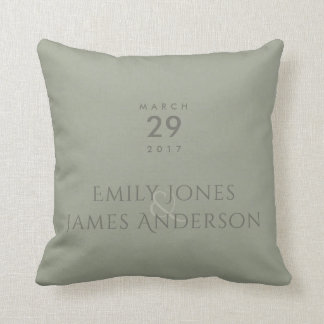 SIMPLE ELEGANT GREY TYPOGRAPHY SAVE THE DATE THROW PILLOW
