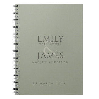 SIMPLE ELEGANT GREY TYPOGRAPHY TEXT ONLY WEDDING NOTEBOOK