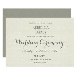 SIMPLE ELEGANT GREY TYPOGRAPHY  WEDDING CARD