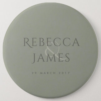 SIMPLE ELEGANT GREY TYPOGRAPHY WEDDING TEXT ONLY 6 INCH ROUND BUTTON