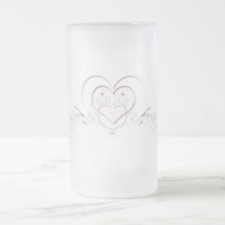Simple Elegant Hearts Frosted Glass Beer Mug