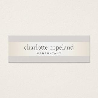 Simple Elegant Ivory Stripe Professional Mini Business Card