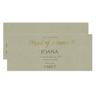 SIMPLE ELEGANT KRAFT TYPOGRAPHY maid of honour Card