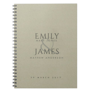 SIMPLE ELEGANT KRAFT TYPOGRAPHY TEXT ONLY WEDDING NOTEBOOK