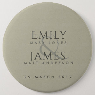 SIMPLE ELEGANT KRAFT TYPOGRAPHY WEDDING TEXT ONLY 6 INCH ROUND BUTTON
