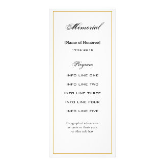 Simple, Elegant Memorial Service Program Card