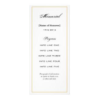 Simple, Elegant Memorial Service Program Card Customized Rack Card