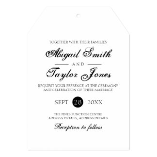 Simple Elegant Minimal Black and White Wedding Car Card