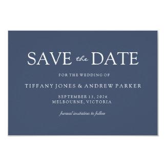 Simple Elegant Modern Blue Wedding Save the date Card