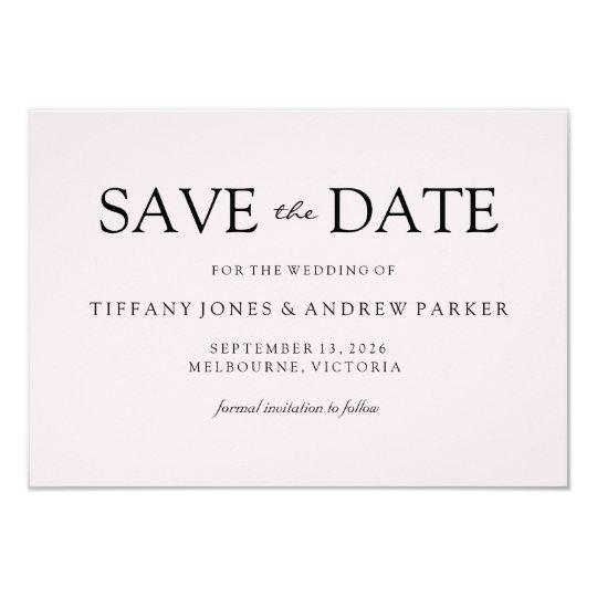 Simple Elegant Modern Peach Wedding Save the date Card