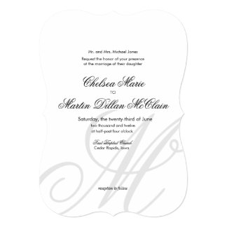 Simple Elegant Monogram white wedding invite