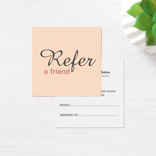 Simple Elegant Pale Pink Referral Card Beauty