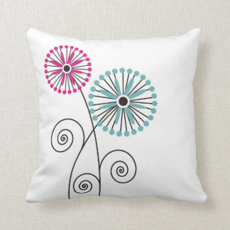Simple Elegant  Pink & Mint  Floral Throw Pillows