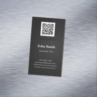 Simple Elegant Plain Black - Professional QR Code Magnetic Business Card