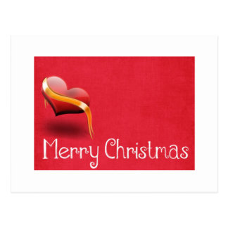 Simple Elegant Red Heart Decor Merry Christmas Postcard