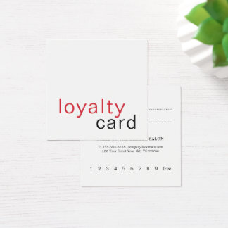 Simple Elegant Red White Loyalty Card