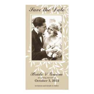 Simple Elegant Save the Date Photo Card (Beige)