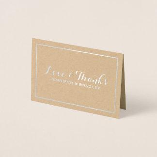 Simple Elegant Silver Foil Kraft Wedding Thank You Foil Card