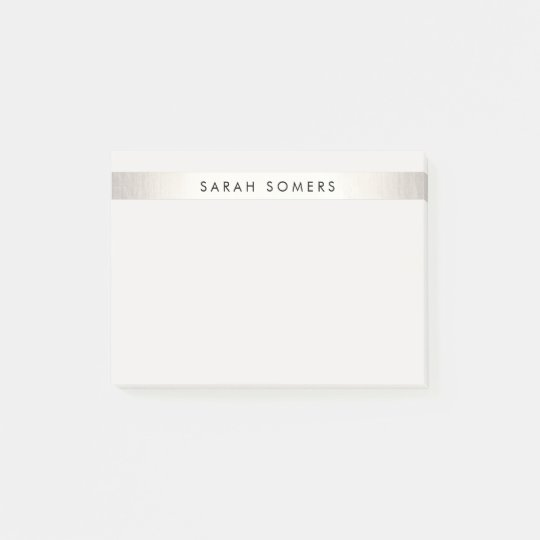 Simple Elegant Silver Stripe Personalized Name Post-it Notes
