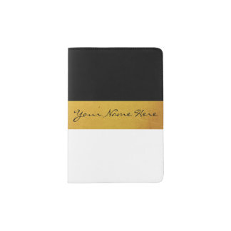 Simple Elegant Stylish White Black & Gold Stripes Passport Holder