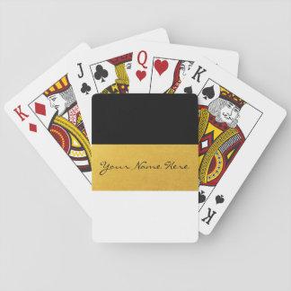 Simple Elegant Stylish White Black & Gold Stripes Poker Deck