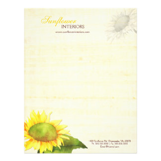 Simple Elegant Sunflower Business Letterhead