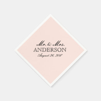 Simple Elegant Typography Blush Wedding Napkin