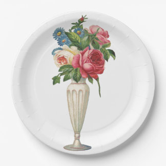 Simple Elegant Victorian Flower Vase Paper Plates