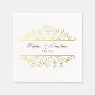 SImple Elegant Vintage Chic Gold Wedding Custom Paper Napkin