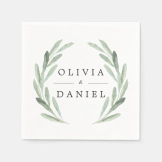 Simple Elegant Watercolor Wreath Greenery Wedding Paper Napkin