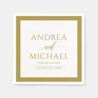 Simple & Elegant Wedding Cocktail Napkins (Gold)