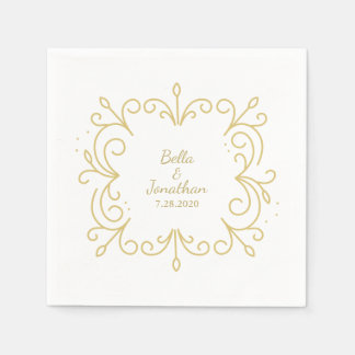 Simple Elegant Wedding Gold & White Custom Disposable Napkins