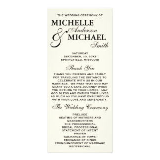 Simple Elegant Wedding Program Customized Rack Card
