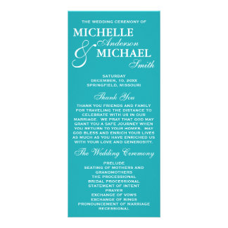 Simple Elegant Wedding Program Rack Card