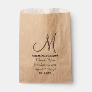 Simple Elegant Wedding Thank you Monogrammed Favour Bag