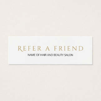 Simple Elegant White Faux Gold Referral Card