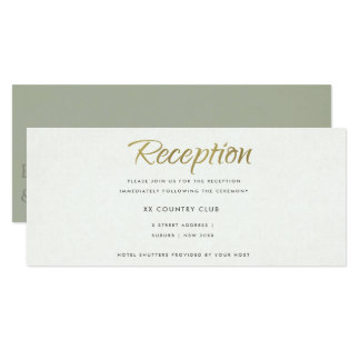 SIMPLE ELEGANT WHITE GREY TYPOGRAPHY RECEPTION CARD
