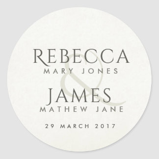 SIMPLE ELEGANT WHITE TYPOGRAPHY TEXT ONLY CLASSIC ROUND STICKER